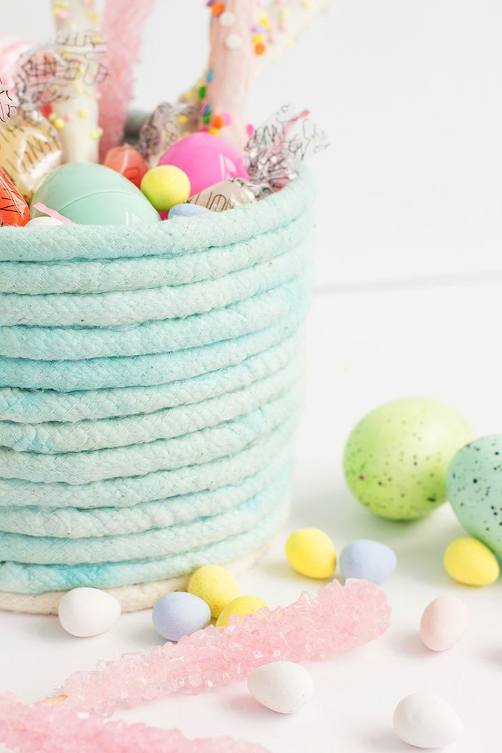 Create an adorable, DIY, No-sew rope Easter basket.
