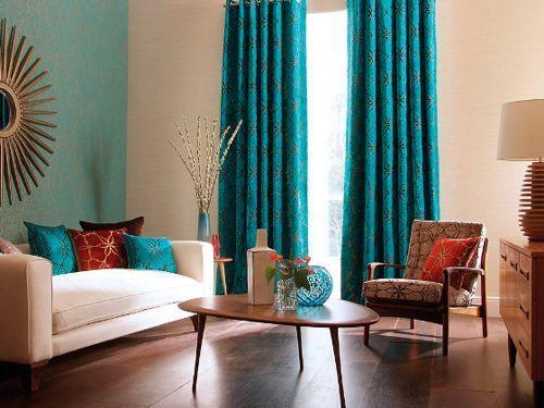 sala-con-cortinas-azules Cosas q tengo en mente Pinterest - cortinas azules