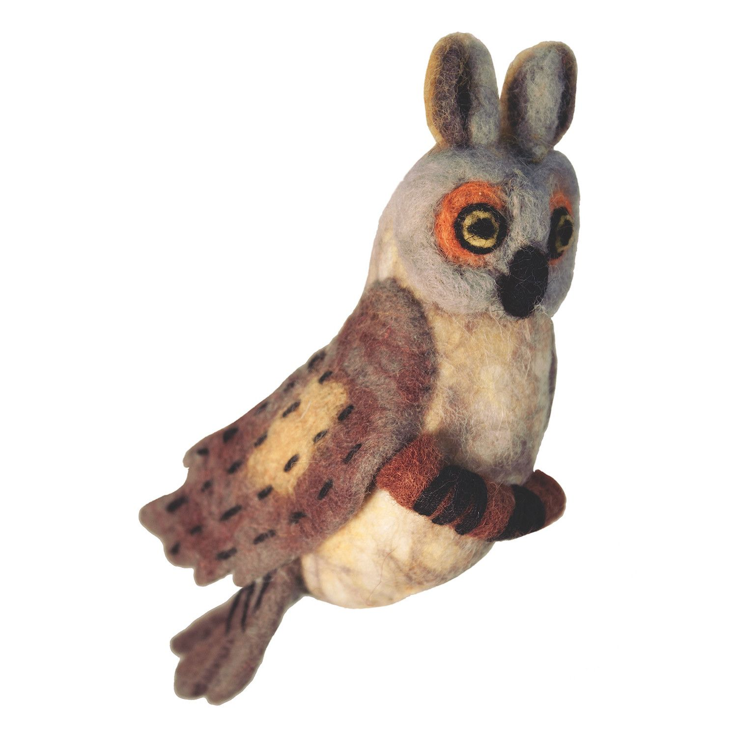 felt bird garden ornament great horned owl wild woolies g