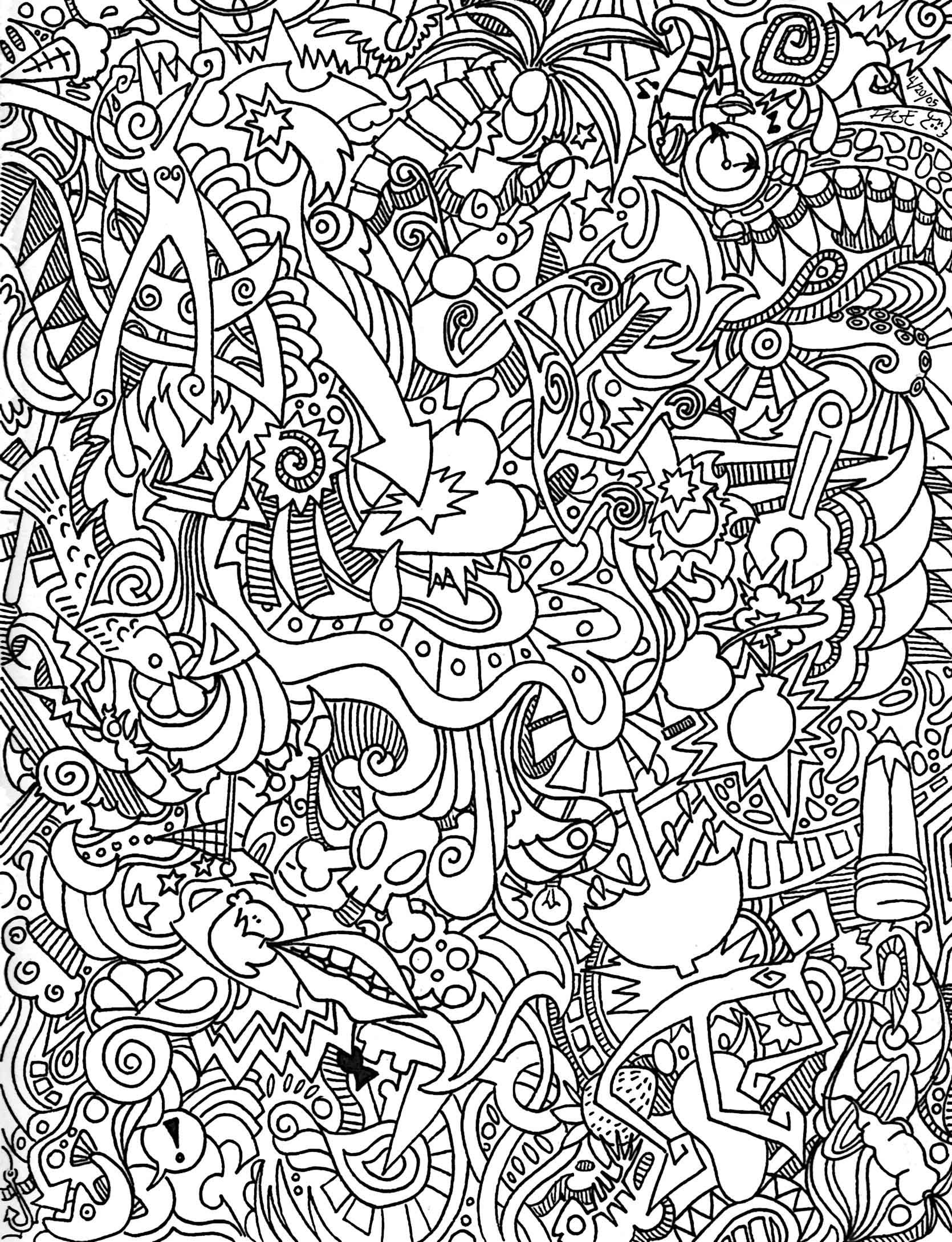 Full Page Insanity 1 | Abstract coloring pages, Space coloring pages, Mandala  coloring pages