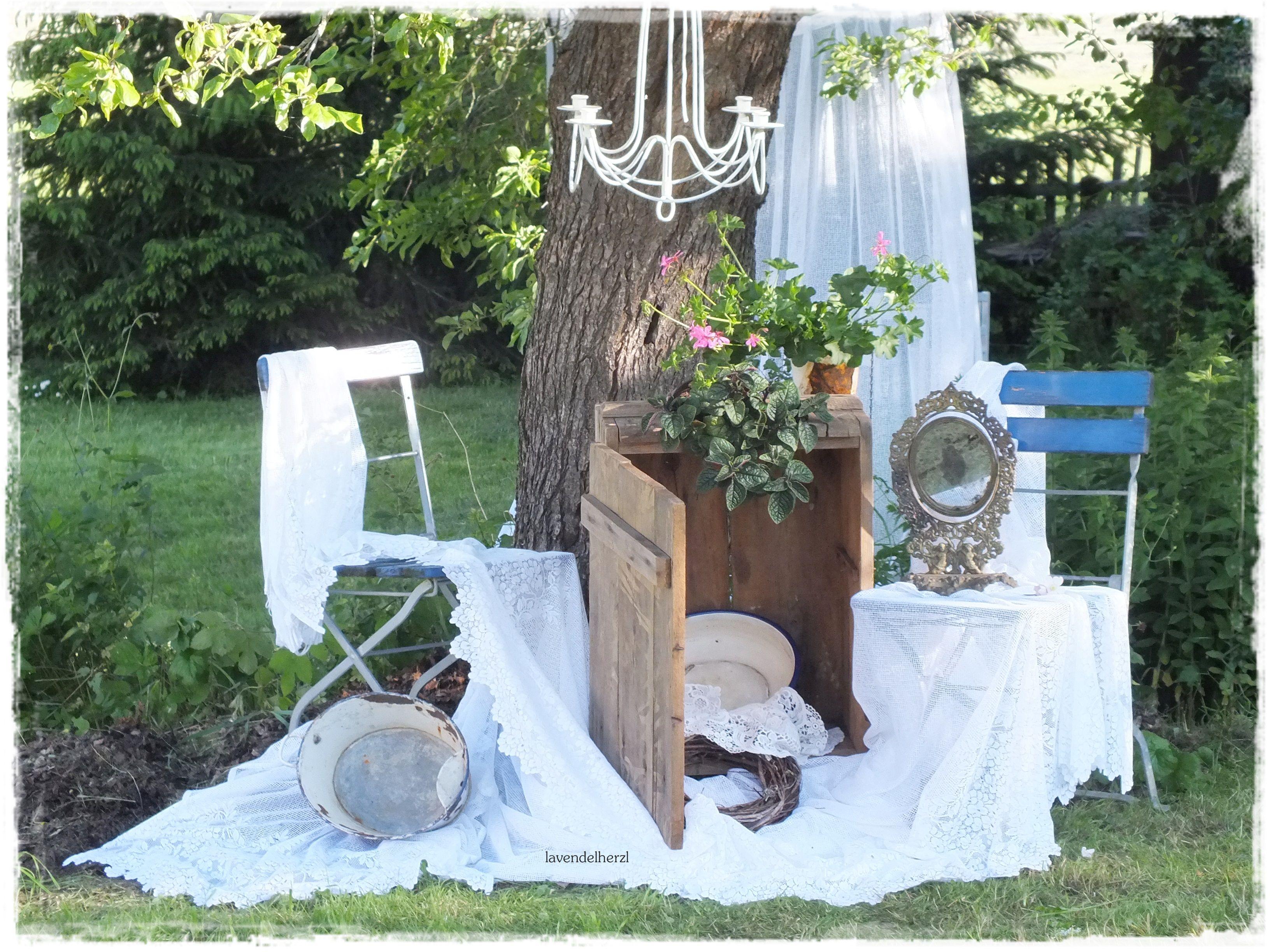 Gartendeko Shabby grüße aus unserem garten lavendelherzl vintage shabby gartendeko