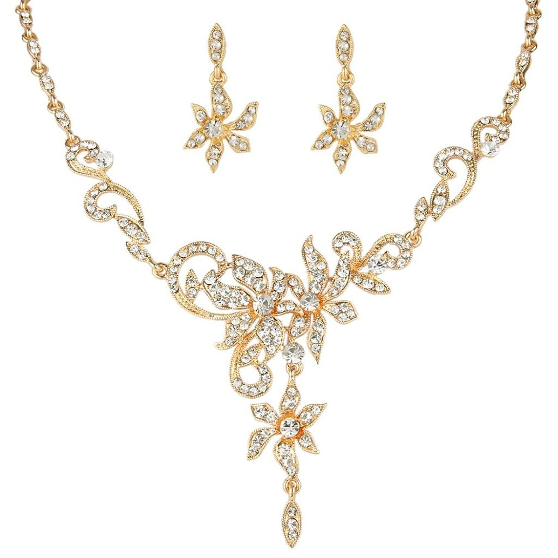 EVER FAITH Women's Austrian Crystal Bridal Floral Vine Leaf Necklace Earrings Set Clear Gold-Tone F0iUk