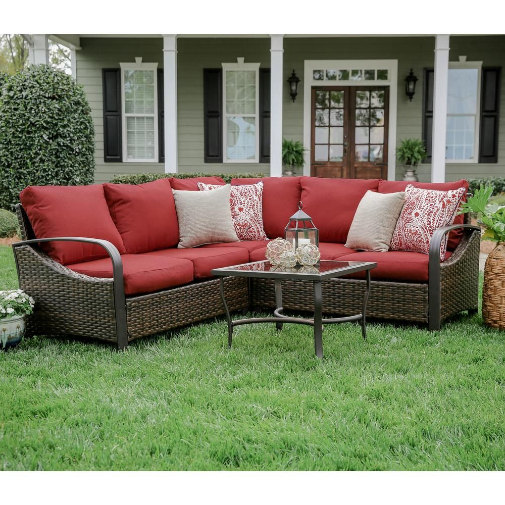 Leisure Made Trenton 4 Piece Wicker Outdoor Sectional Set With Red