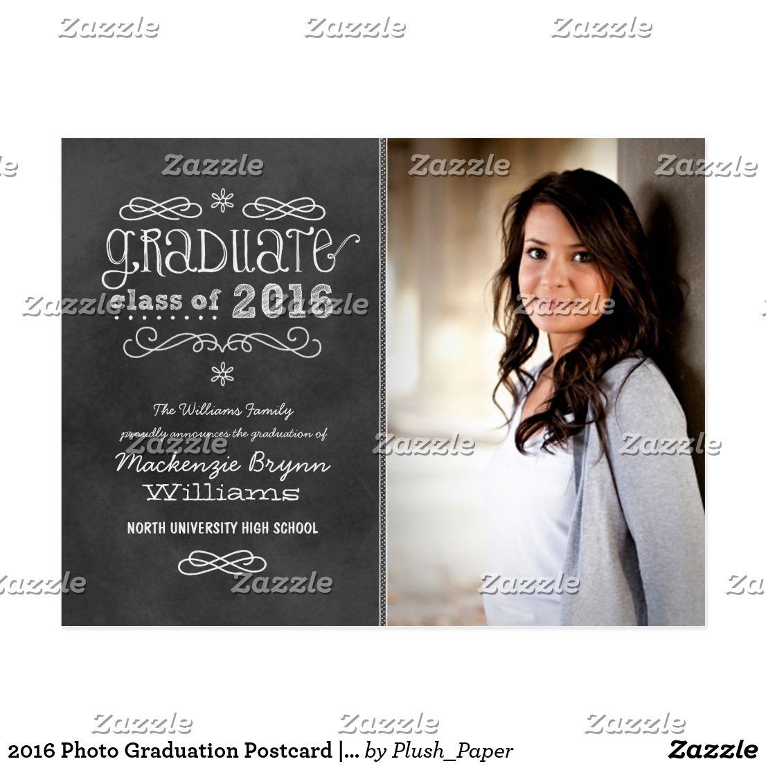 Photo Graduation Postcard Black Chalkboard Postcard Format - Graduation postcard template