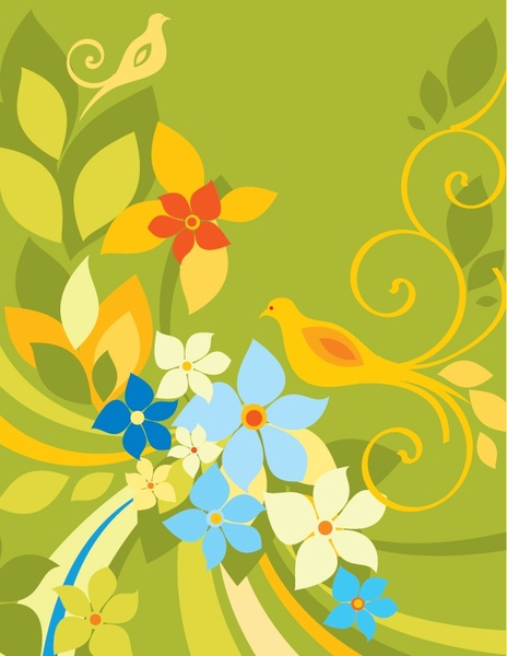 Nature background flowers birds icons classical colored decor Free vector in Enc