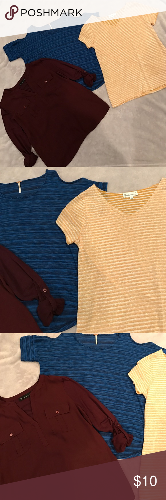 Bundle of 3 size M tops 🛍🛍 3 tops 1 short sleeve mustard stripe ..one INc plum color roll cuff ..one blue cold shoulder ..great shape 🛍🛍🛍🎉🎉 Tops