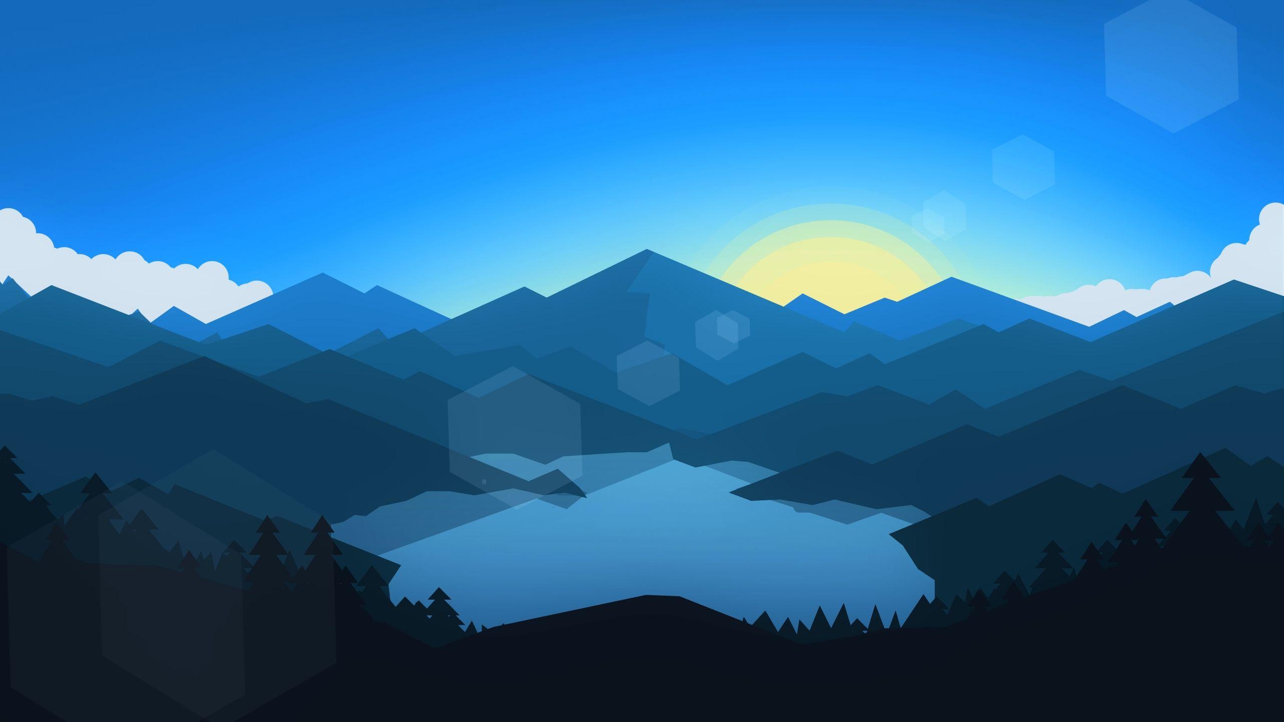 General 2560x1440 Minimalism Abstract Sun Geometry Landscape