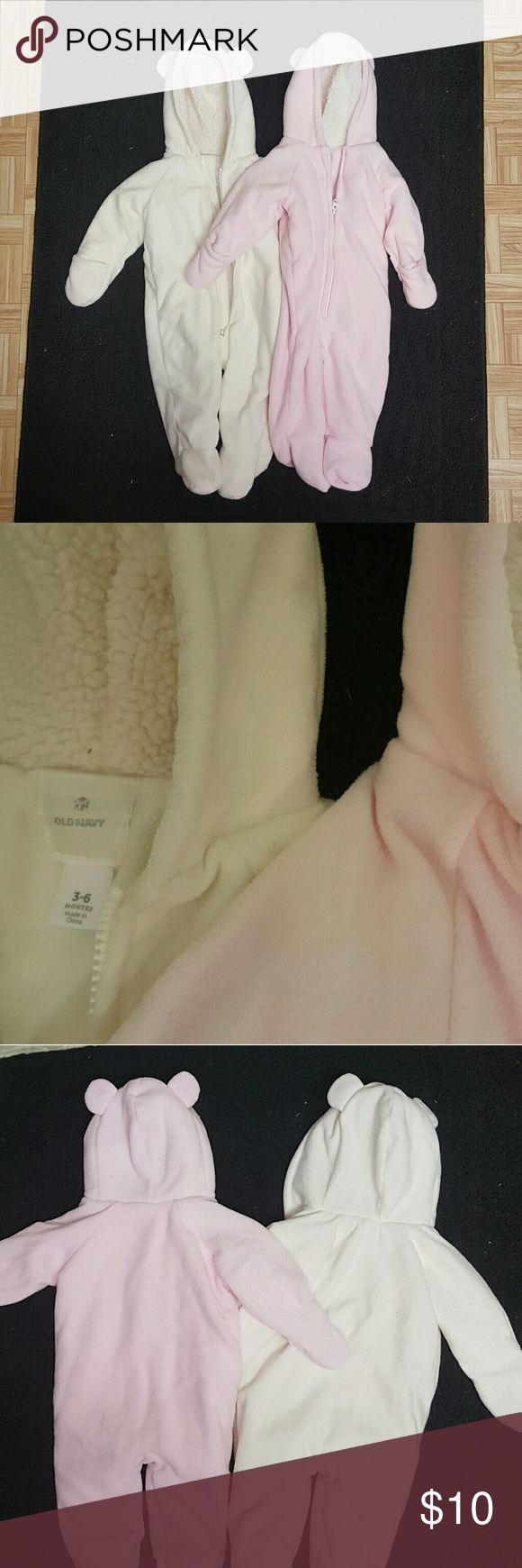 2 Old Navy 3-6month Fleece Winter Zipup Suits One white one pink. NWOT. Cozy fleece material! Old Navy Jackets & Coats