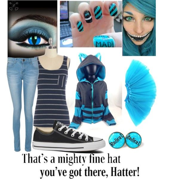 cheshire cat polyvore   fashion look from October 2014 featuring blue stripe shirt, kigurumi ...