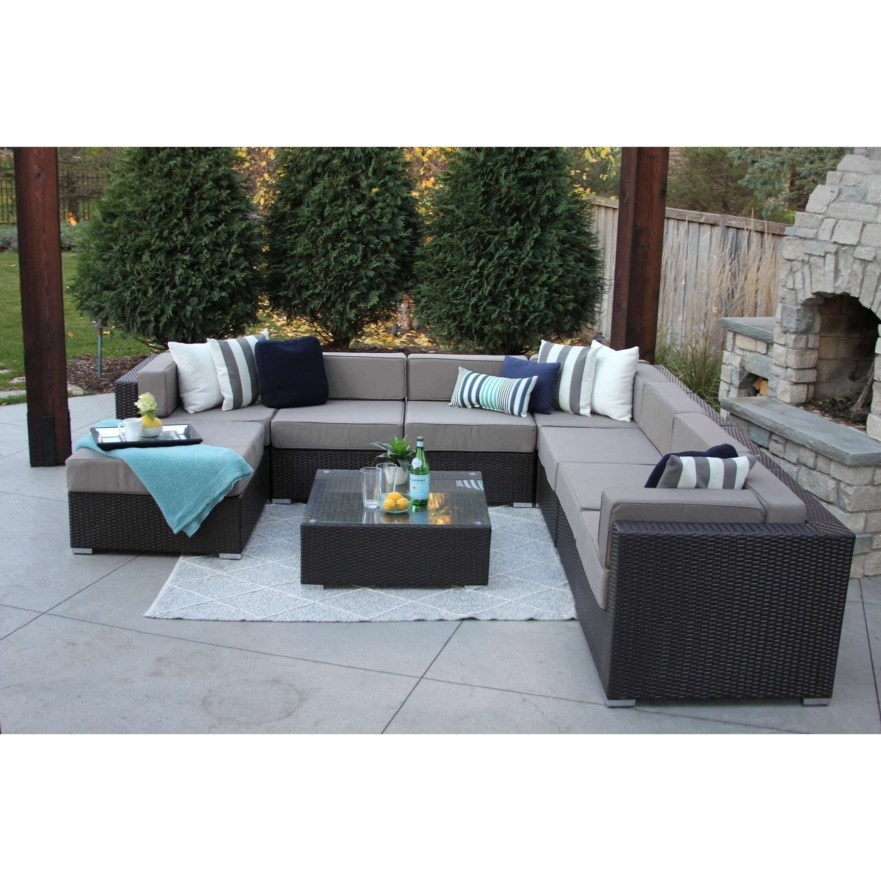 Recamiere Rattan Glass Table Rattan Chair Combination Set Creative Leisure Outdoor