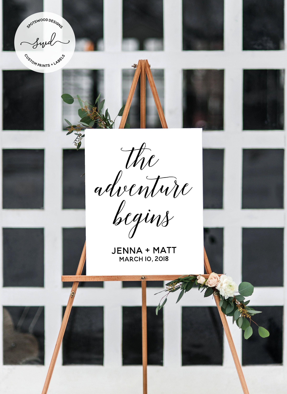 The Adventure Begins Custom Digital Printable Engagement Etsy Bridal Shower Welcome Sign Wedding Entrance Sign Engagement Party Decorations