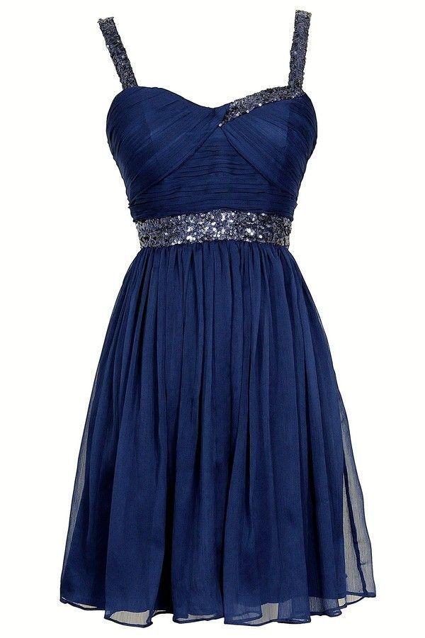 Short Blue Dresses With Straps