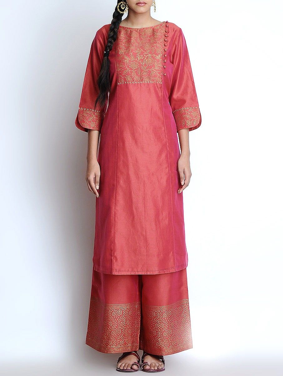 Buy Red Golden Hand Block Printed & Button Detailed Yoke Silk Chanderi Kurta Apparel Tunics Kurtas Charisma Khari Dupattas and Pallazos Online at Jaypore.com