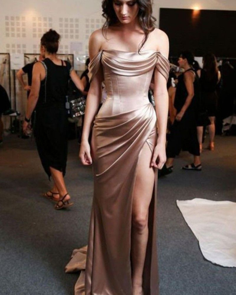 Off the Shoulder Chocolate Satin Sheath Long Formal Dress