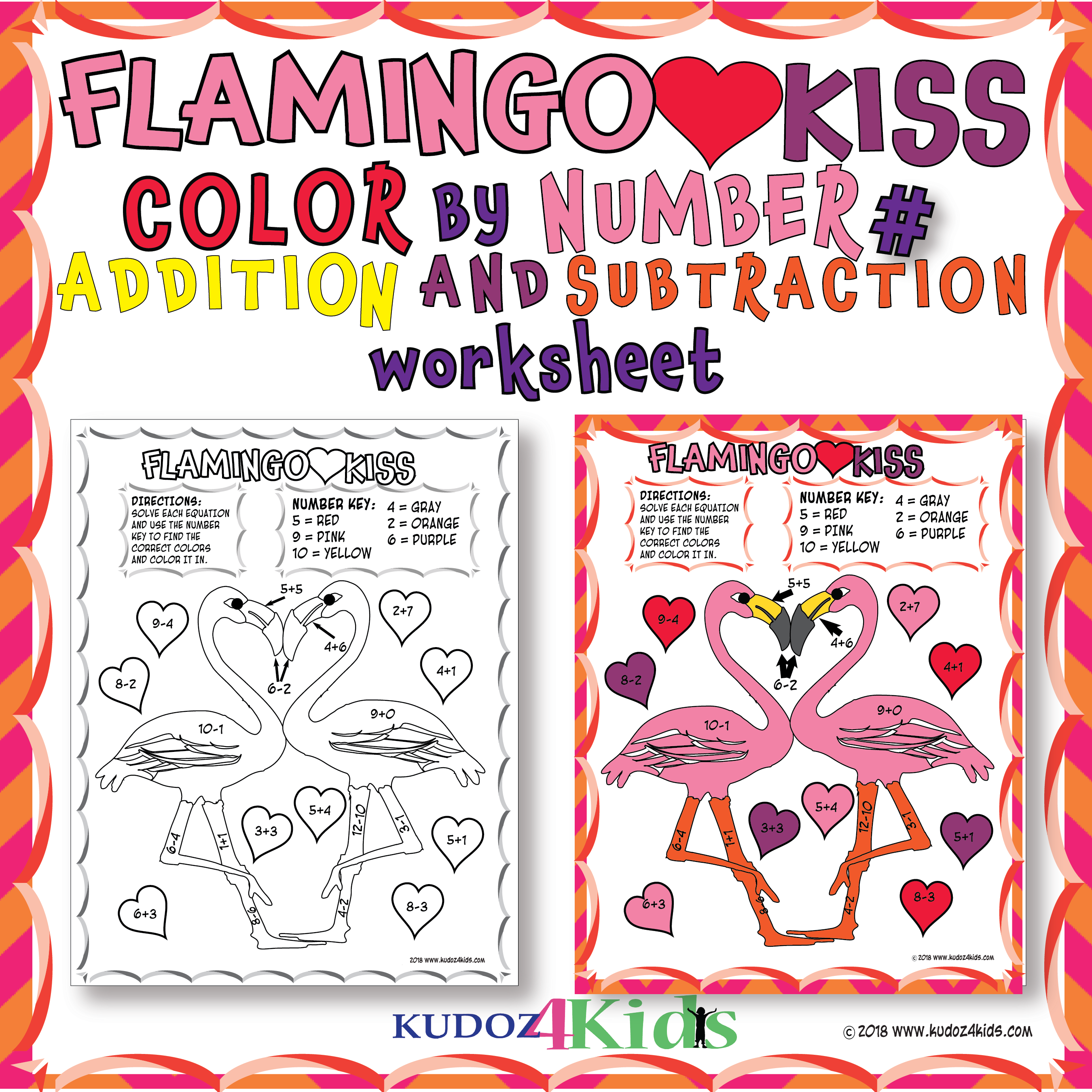 Flamingo Kiss Color By Number For Addition And