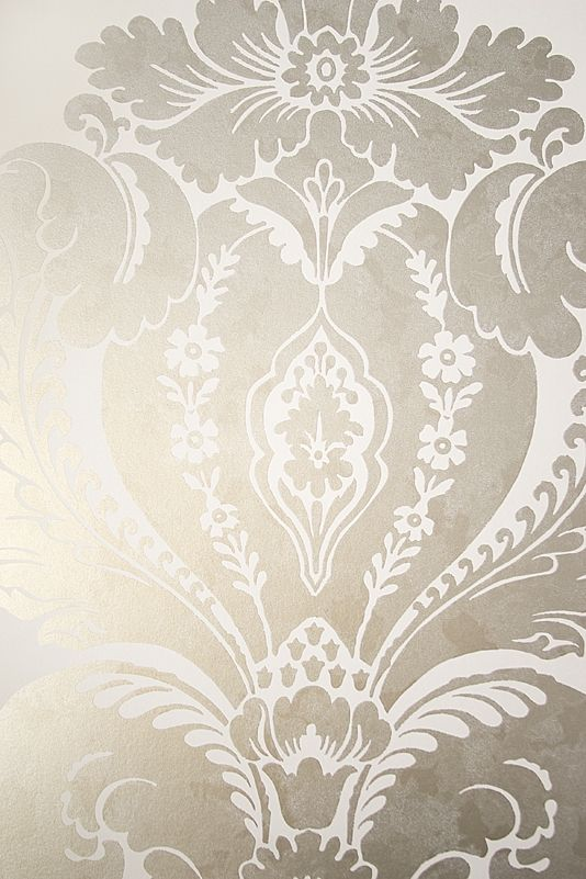 Baudelaire Damask Wallpaper Large Print Metallic Mottled Iridescent Pewter Grey Design On White Paper
