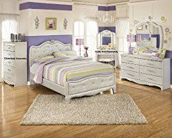 Julia Silver And Pearl Girl S Full Size Bedroom Set Bed Dresser