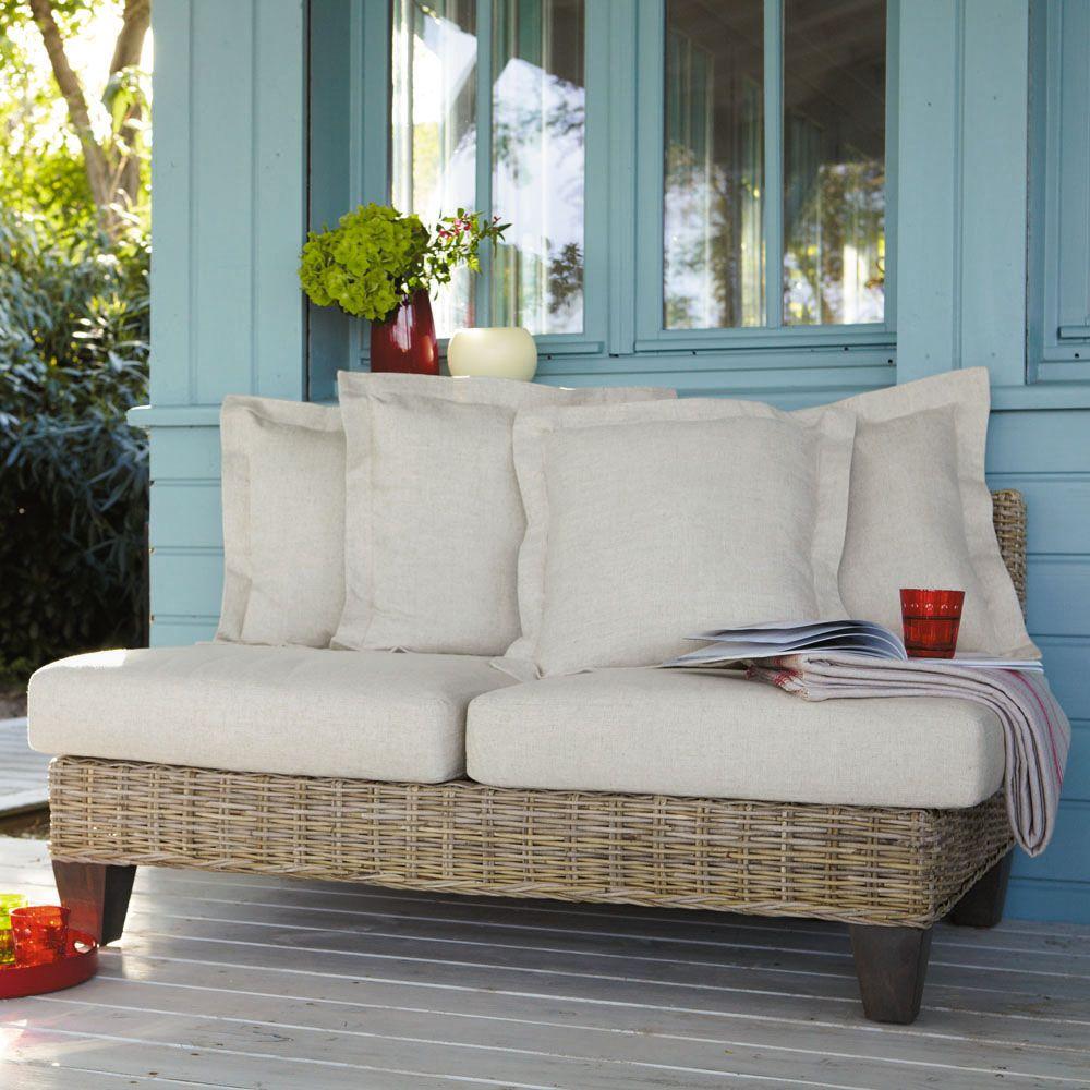 banquette de jardin 2 places en rotin kubu clair. Black Bedroom Furniture Sets. Home Design Ideas