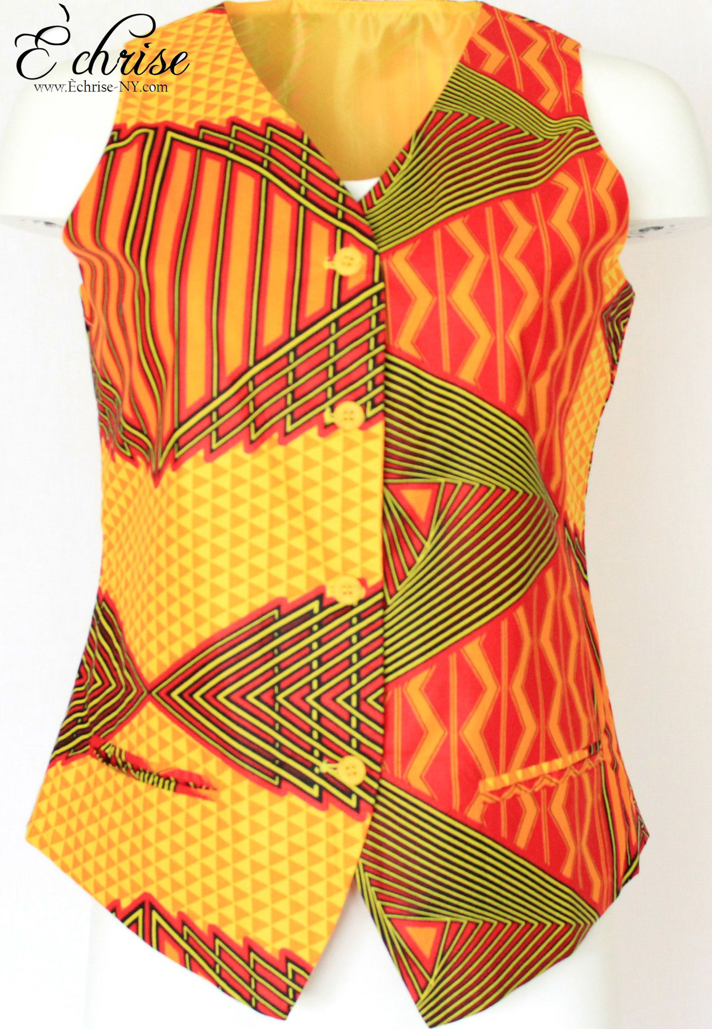 Q112V Geometric WaxPrint Vest/Waist Coat - V6614 Yellow
