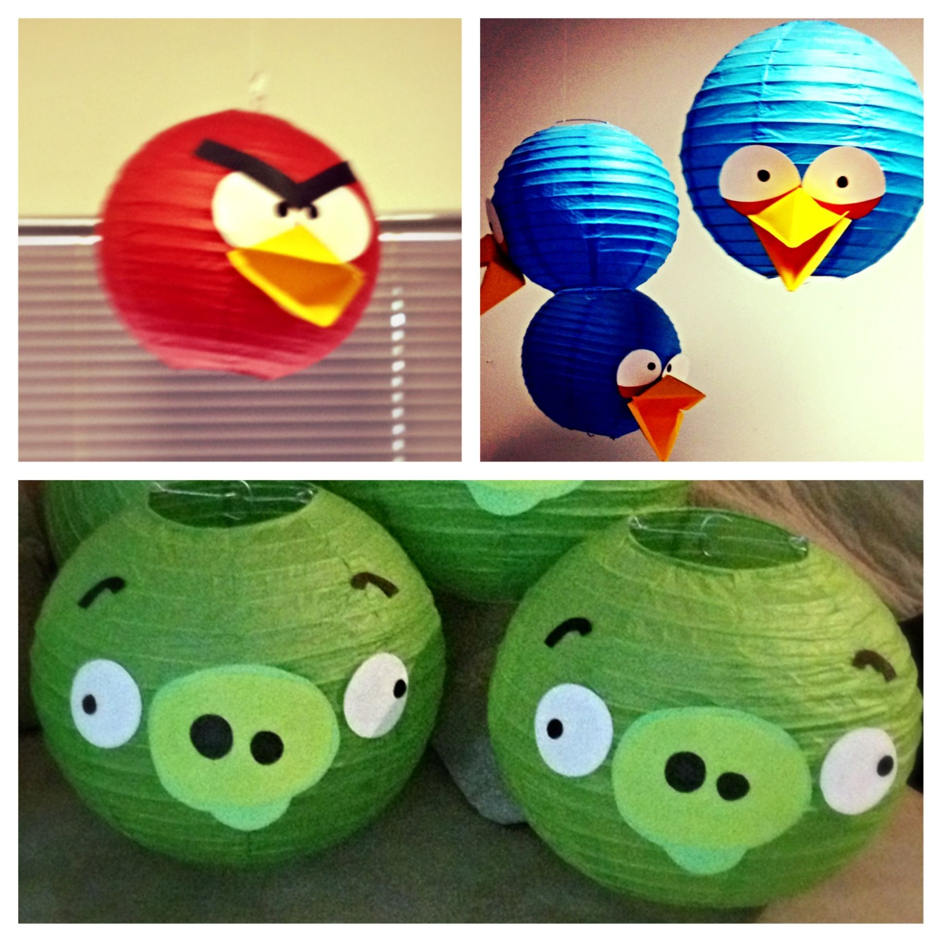 Angry birds decoration with paper lanterns art - Angry birds noel ...
