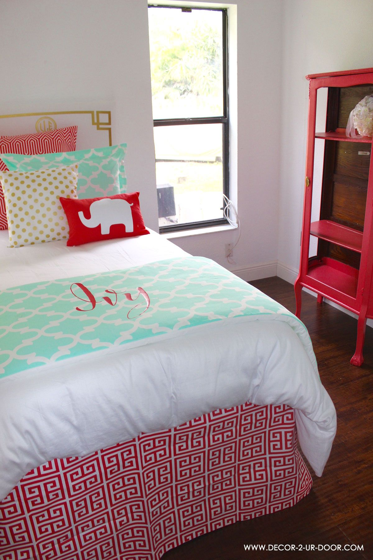Teen Bedding For Girls Mint Coral and Gold designer bedding set