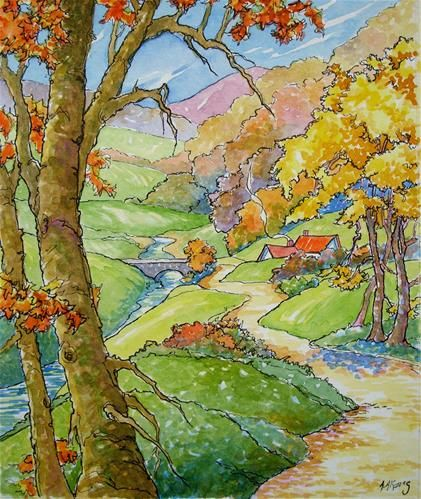 """River Road in Autumn Storybook Cottage Series"" - Original Fine Art for Sale - © Alida Akers"