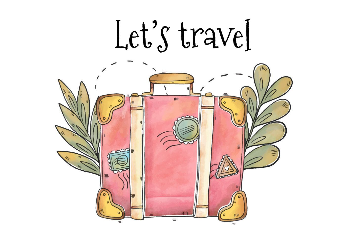 Hand Drawn Pink Suitcase for Tourism Day Vector . Choose from thousands of free ...