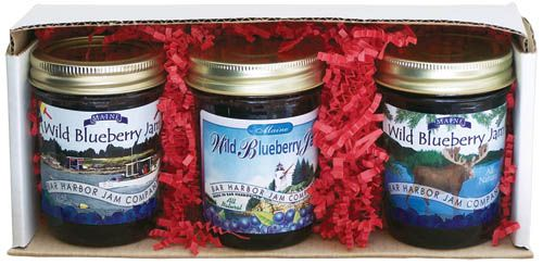 Bar Harbor Jam 3-Jar Gift Pack featuring wild Maine blueberry jam: Enjoy three great tastes in one gift pack! Our popular jams make great gifts and why not choose a few- three great tastes to share with someone special. | See more: http://bit.ly/BHJ3jars