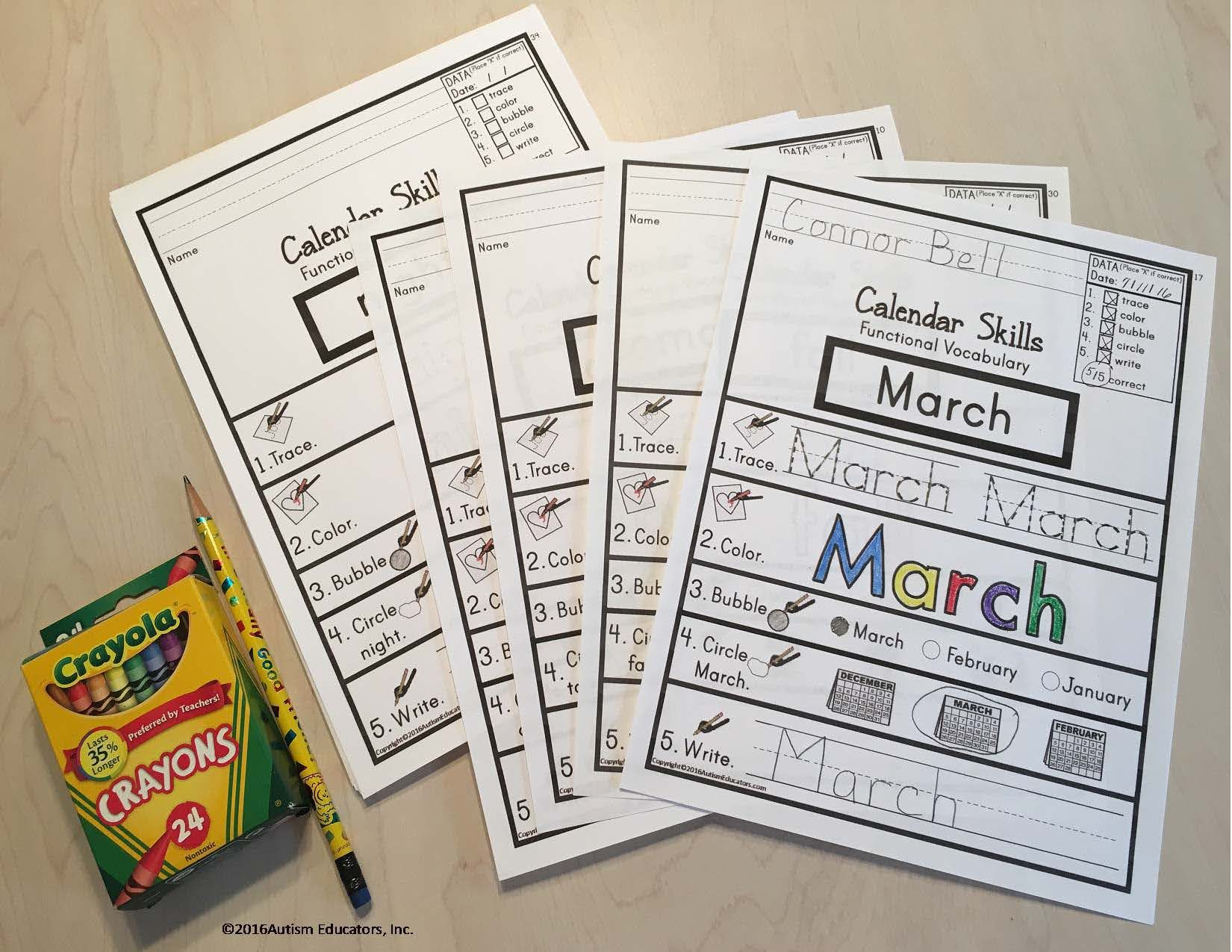 Life Skills Functional Calendar Vocabulary Worksheets With