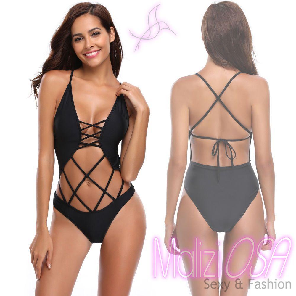 5e988a1fde5f Monokini Costume da Bagno Donna Nero Intero Moda Mare 2018 Trikini Sexy Nero
