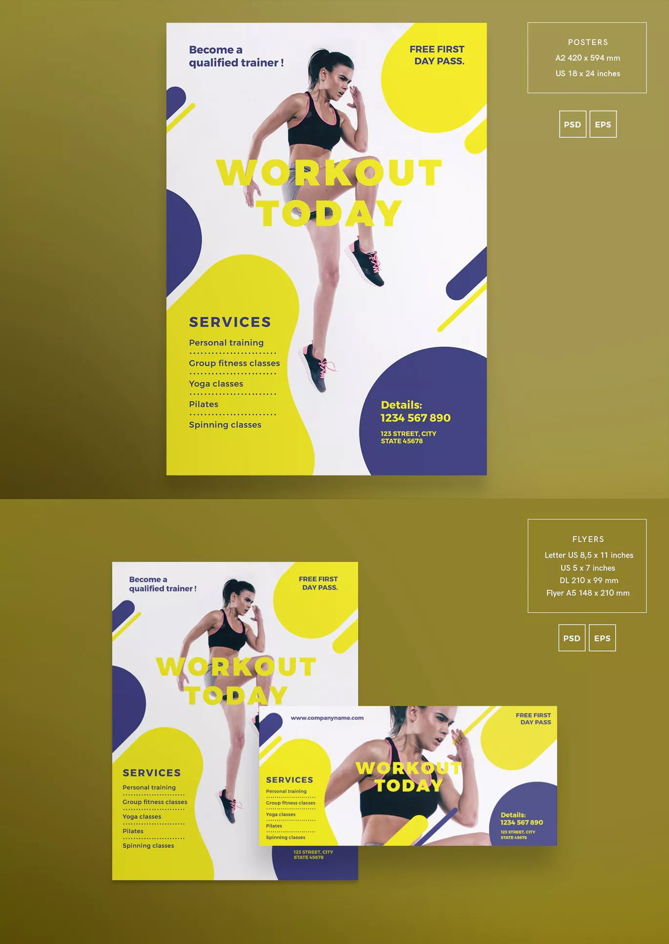Gym Workout Flyer and Poster Template EPS, PSD Flyer