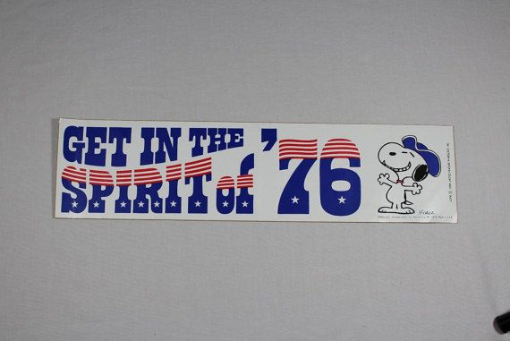 Vintage 1976 snoopy bicentennial hallmark bumper sticker get in the spirit of 76