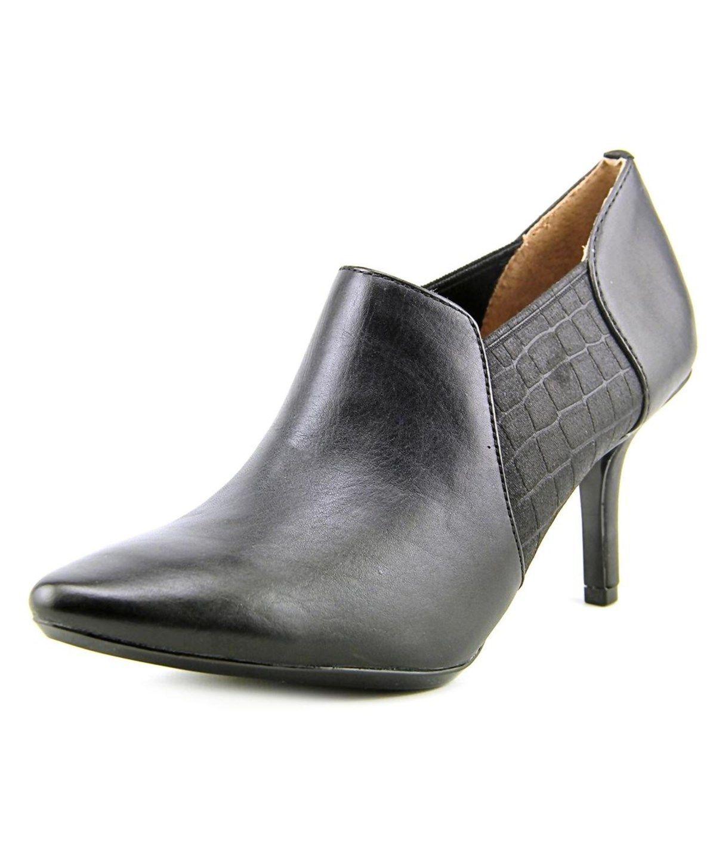 CALVIN KLEIN CALVIN KLEIN JANEL WOMEN  POINTED TOE LEATHER BLACK BOOTIE'. #calvinklein #shoes #boots & booties