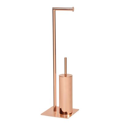 Click to zoom copper toilet paper and brush holder copper pinterest brush holders - Gold toilet paper holder stand ...