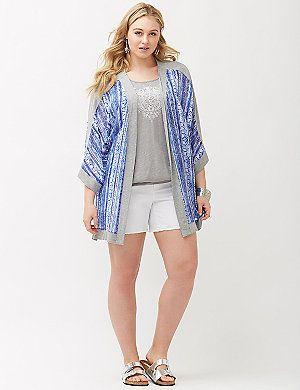 de2316a8964 Knit trim kimono overpiece Plus Size Blouses