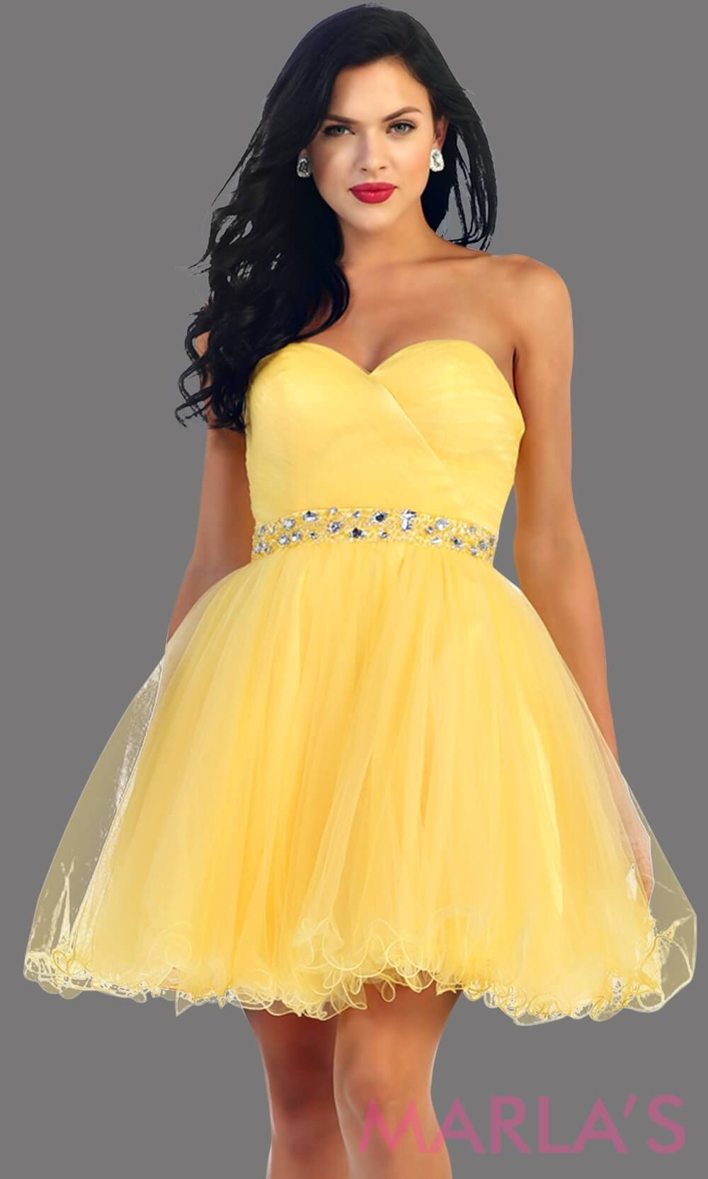 Short strapless puffy yellow dress with