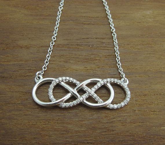fréquent nouveau design magasin britannique Diamond infinity necklace, White gold double infinity knot ...