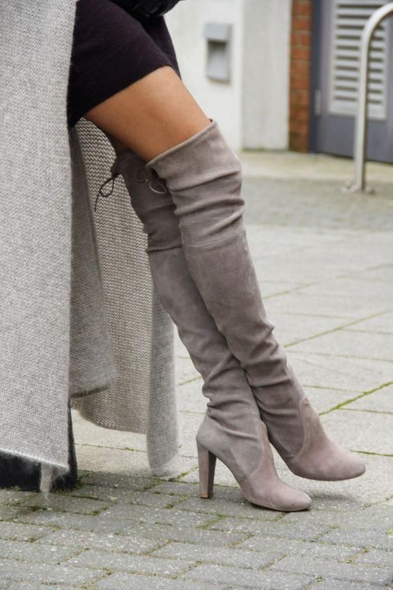 9d51df92484 Grey Round Toe High Chunky Over-The-Knee Boots - Chic128