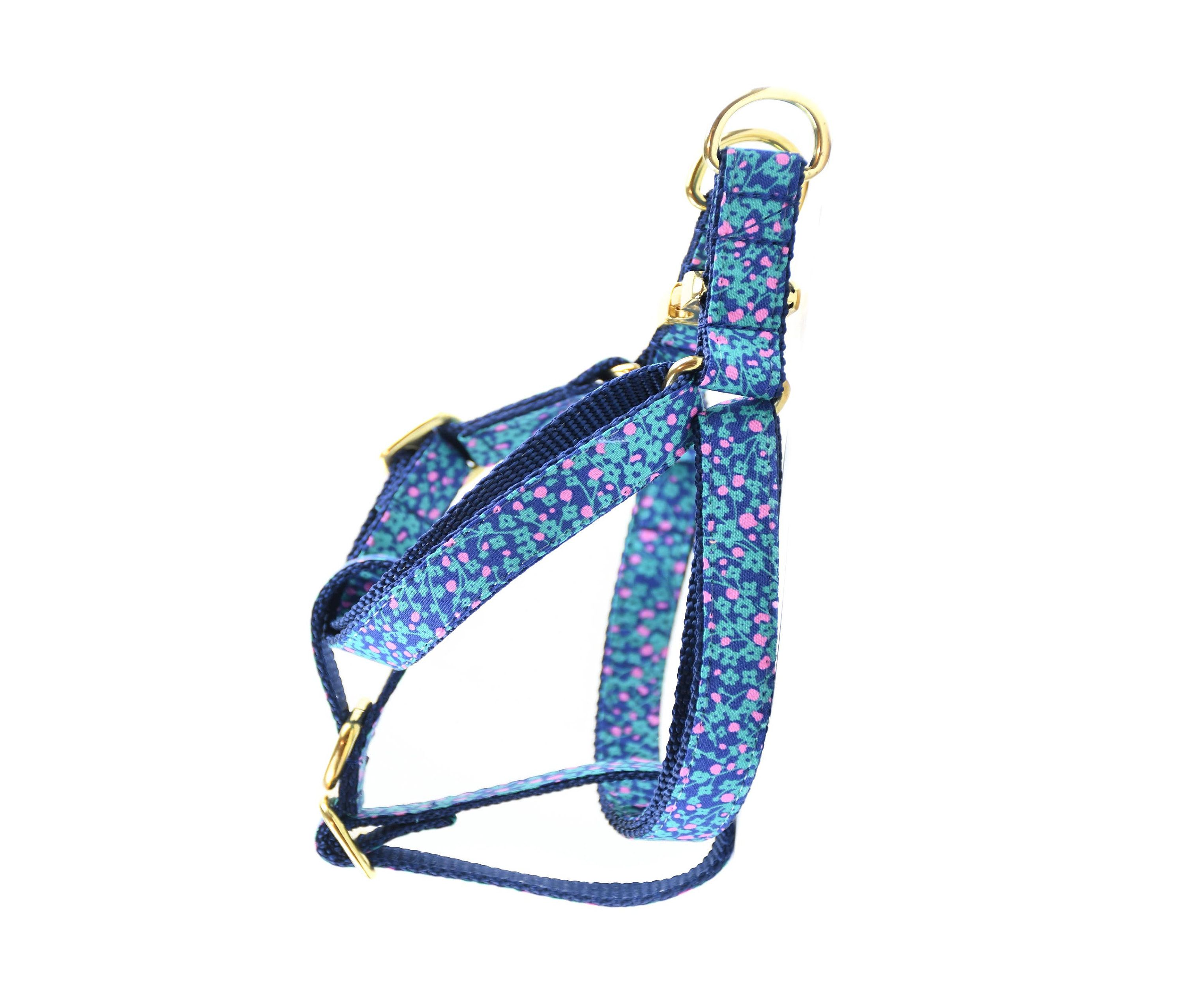Teal Mini Floral Dog Harness // No Pull Step In Front Clip