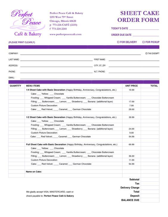 Cake Order Form Template Free Download - Google Search | Cakes