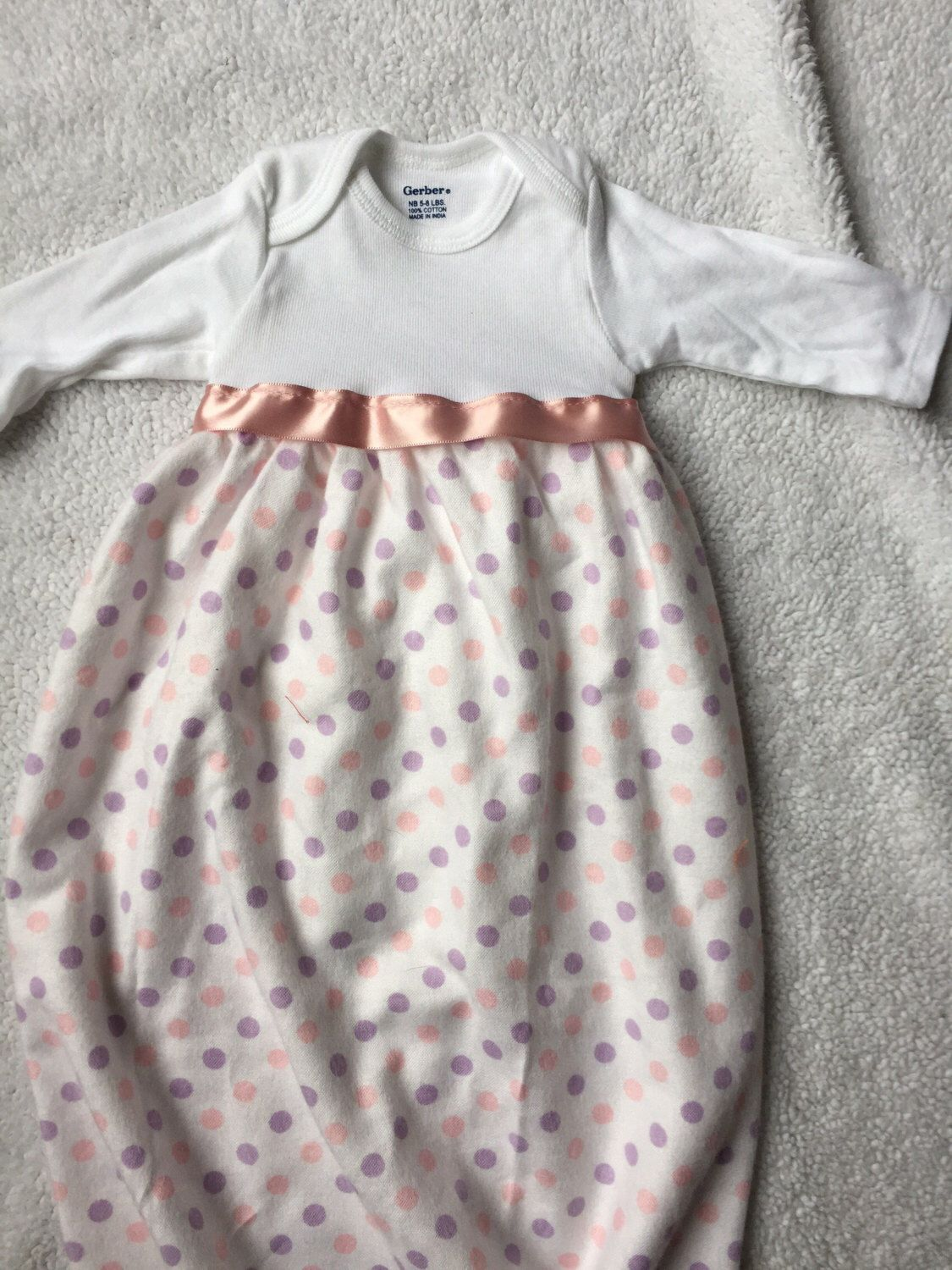 Pink dress baby  Adorable Onesie Sleep Sack Pink and purple polkadots Infant Gown