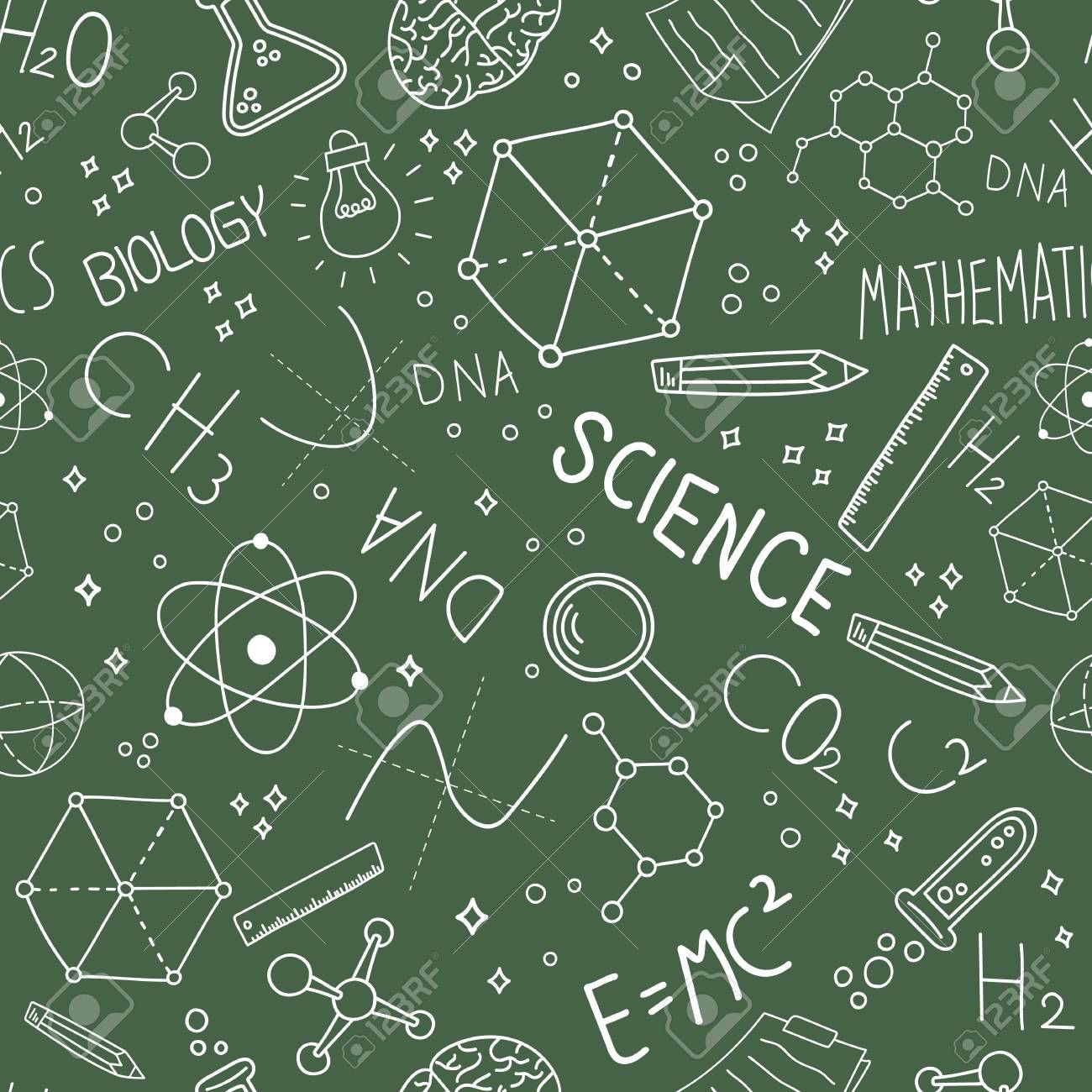Science Concept Seamless Pattern Of Doodle Icons On Green