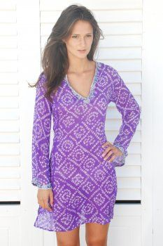 Purple Silk with Sequins v-neck kaftan