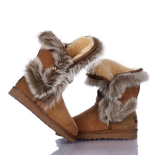 ugg boots outlet sale ugg 5531 fox fur bailey button brown on sale rh pinterest com au