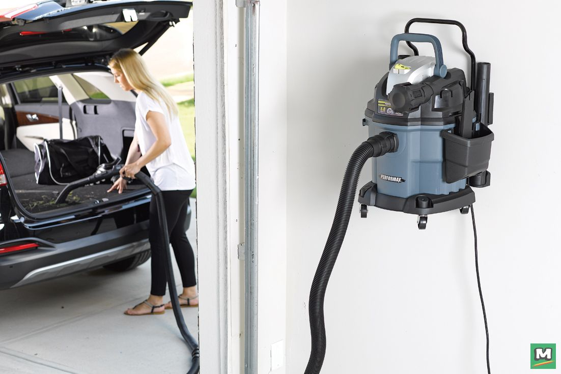 The Performax® Wet/Dry WallMount Vacuum provides car