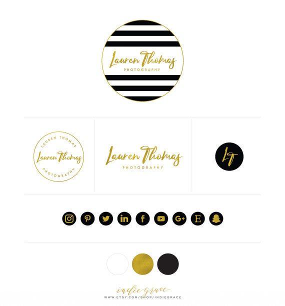 Modern Black White Stripe Logo Design Custom Logo Branding Etsy Logo Design Boutique Logo Rose Gold Logo