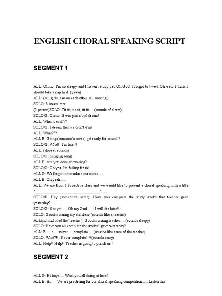 choral speaking script for kindergarten