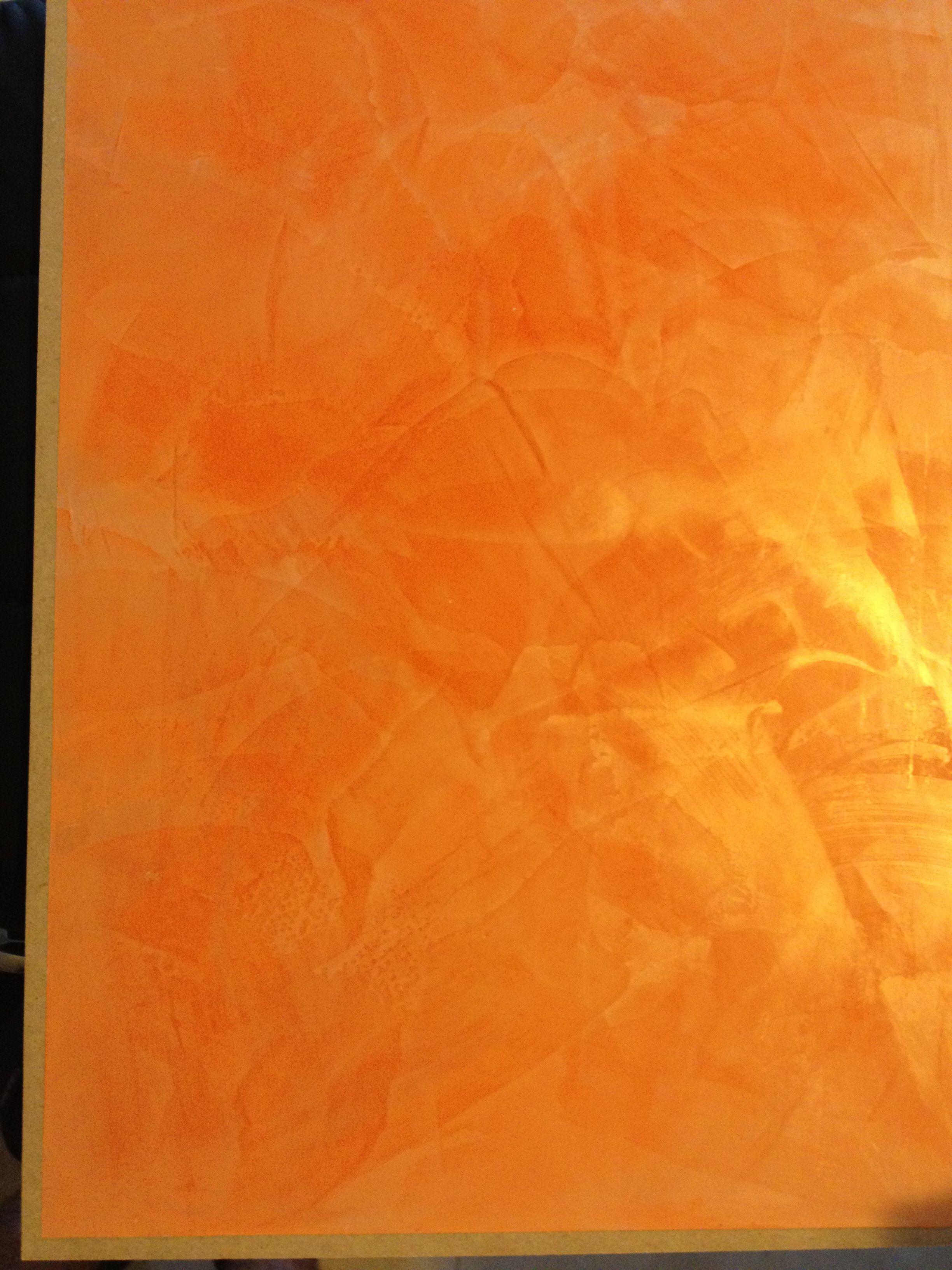 Venetian Plaster And Other Modern Plaster Walls: Gold Wax On Orange Venetian Plaster