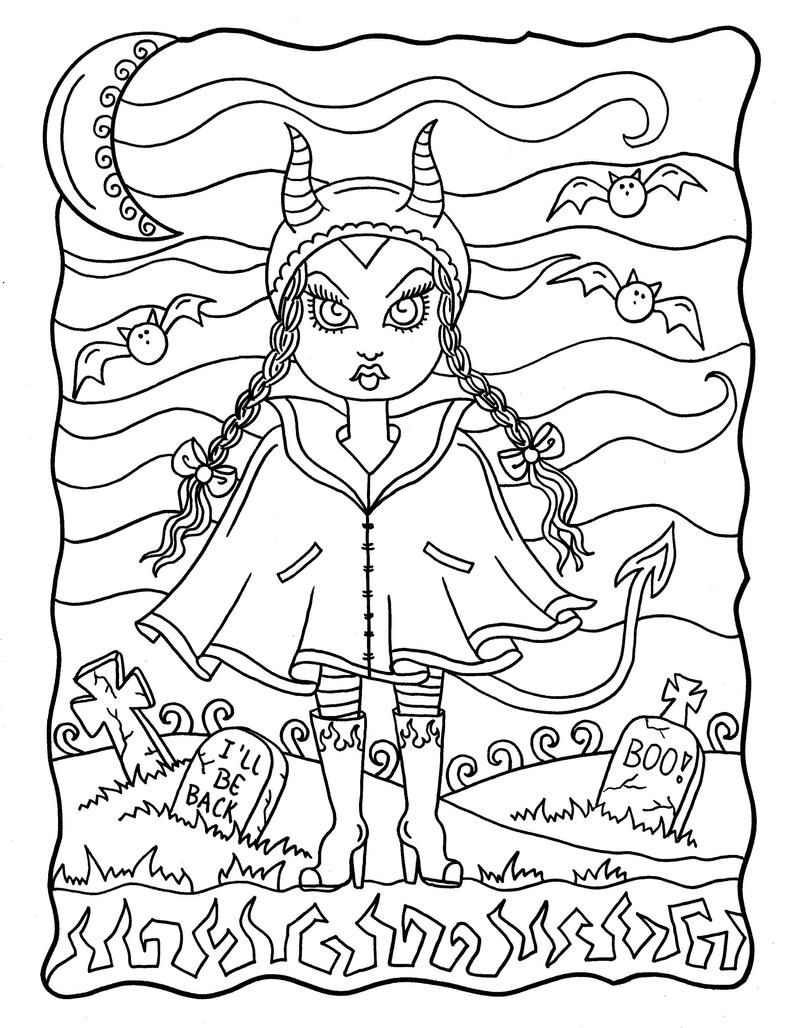 Halloween Darlings Digital Book Fun Little Trick Or Treaters Etsy In 2021 Love Coloring Pages Halloween Coloring Pages Printable Halloween Coloring Pages