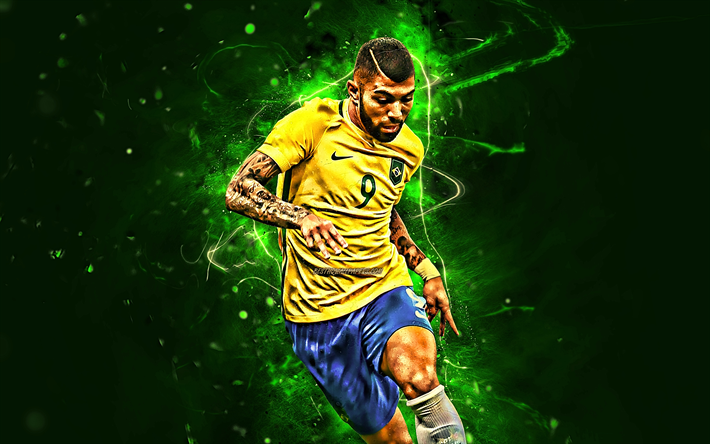 Download Wallpapers Gabriel Barbosa Match Brazil National Team Forward Fan Art Barbosa Neymar Jr Soccer Neon Lights Football Stars Brazilian Football Neymar Jr Football Team Neymar